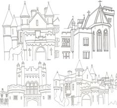 Drawings in progress for my final design project of the year. Little castles.