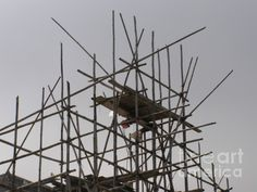 Bamboo scaffolding in the sky