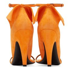 CALVIN KLEIN 205W39NYC Orange Suede Carmin Sandals ($895) ❤ liked on Polyvore featuring shoes, sandals, suede shoes, orange suede shoes, orange sandals, orange shoes and suede leather shoes