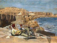 Peinture Port d'Alger - Jeunes algériens sur les blocs de la jetée du nord du port d'Alger von Etienne Bouchaud