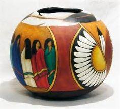 Southwestern Fine Art Gourd Art by Hellen Martin