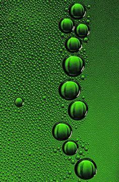 green water drops • macro photography