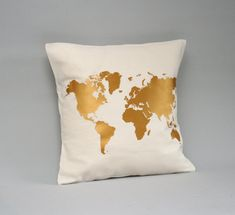 Gold worldmap pillow cover DETAILS - Pillow COVER - Size—Choose your size in the drop down menu. This cover is made to fit pillow sizes: 16x16 / 18x18 /