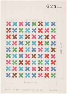 Alexander Girard, Design drawing for printed fabric - Quatrefoil, 1954. For…