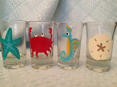 Set of 4 Hand Painted Nautical Shot glasses