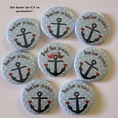 Button Set JGA personalisiert – Anker, Braut,Crew - Kreawusel-handmade