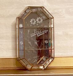 Vintage Mirrored Curio w/Etched Glass & Brass Trim, Cabinet, Display, Case, Wall  | eBay