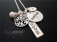 Personalized Mommy Jewelry - Hand Stamped Mommy Jewelry - Mommy Necklace - Family Love on Etsy, $90.00