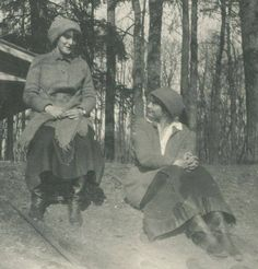 Anastasia and Tatiana during captivity at Tsarskoe Selo, 1917