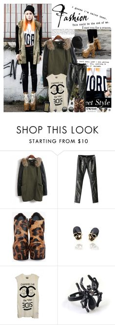 """""""""""You grow up the day you have your first real laugh -- at yourself."""""""" by natza ❤ liked on Polyvore featuring Pendleton, UNIF, The Row, Jagger Edge, leopard print, round sunglasses, faux-leather pants, military jackets, printed t-shirts and platform wedges"""