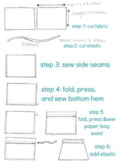 sew it yourself paper-bag skirt graphic - use a fabric with a little bit of 'give' for an easy toddler skirt