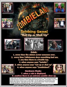 Zombieland Drinking Game - www.unseriously.com @Kelly Kulick Link Funny Drinking Games, Drinking Game Rules, Drinking Games For Parties, Disney Alcoholic Drinks, Fruity Drinks, Stoner Snacks, Movie Workouts, Drunk Games, Fun Sleepover Ideas