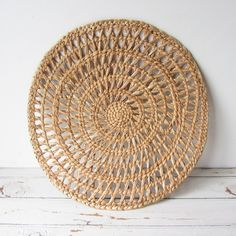 Vintage 16 inch Round Woven Runner BOHO Decor by TintedVintage on Etsy
