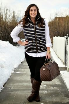 Plus size fashion · louis vuitton artsy mm, louis vuitton speedy, striped vests, brown bags, best Winter Outfits Women 20s, Winter Outfit For Teen Girls, Casual Winter Outfits, Curvy Fashion, Teen Fashion, Plus Size Fashion, Fashion Outfits, Curvy Outfits, Plus Size Outfits