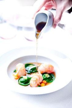 Alain Ducasse at The Dorchester: steamed langoustines ravioli, spicy consomme
