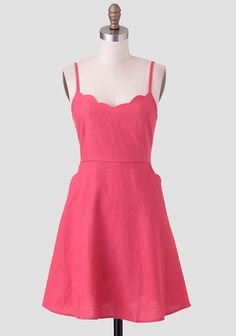 Summer Watermelon Scallop Detail Dress, Ruche. Might like this one even better than the J. Crew Factory one!