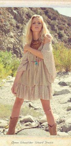 Boho Open Shoulder Short Dress