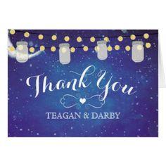 #wedding #thankyoucards - #Mason Jar String Lights Night Wedding Thank You Card