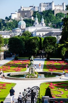 Salzburg,Austria...  over the Salzach River behind Schloss Mirabell... Some choir members danced around the fountain and on the steps to Do Re Mi