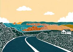 'Copper Coast' Original handmade print of the copper coast