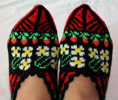 Hand knitted women's winter warm slippers house socks by AsyaKnit