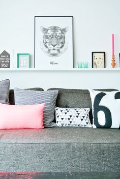 Love the shelf above the couch. Great way to display pictures and nick-knacks.