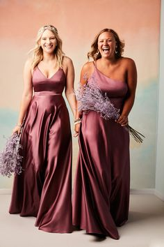 This season it's all about shine and sophistication! Elegant satin gowns in a rich color like Chianti make for an on-trend and beautiful bridal party! | #bridesmaids #bridesmaiddresses #satinbridesmaiddresses #purplebridesmaids| Style F20131 & F20135 in Chianti | Shop these styles and more at davidsbridal.com Flattering Bridesmaid Dresses, Davids Bridal Bridesmaid Dresses, Bridal Party Dresses, Bridesmaid Dress Styles, Bridesmaids, Satin Midi Dress, Satin Gown, Satin Dresses, Gowns
