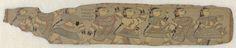 Anonymous | Een processie dames, Anonymous, 1700 - 1800 | De versokant is ondersteboven beschilderd met een rij van dezelfde dames als op de voorkant, alleen nu achter elkaar lopend, of dansend, sommigen met een opgeheven hand en de andere hand aan de kuit rakend. Het stukje palmblad is in een blauw passepartout opgenomen zodat voor- en achterkant zichtbaar zijn.