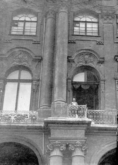 Nicholas II on the balcony of the Winter Palace about to greet the crowds at the declaration of war, 1914.
