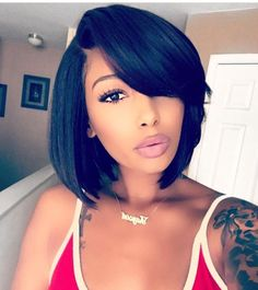 12 Inch Bob With Bangs Wigs For African American Women The Same As The Hairstyle In Picture pc - Wigs For Black Women - Lace Front Wigs, Human Hair Wigs, Short Wigs, Curly Wigs, Bob Wigs Short Bob Hairstyles, Weave Hairstyles, Black Hairstyles, Bob Haircuts, Hairstyles 2016, Layered Bob Hairstyles For Black Women, Ladies Hairstyles, Simple Hairstyles, School Hairstyles