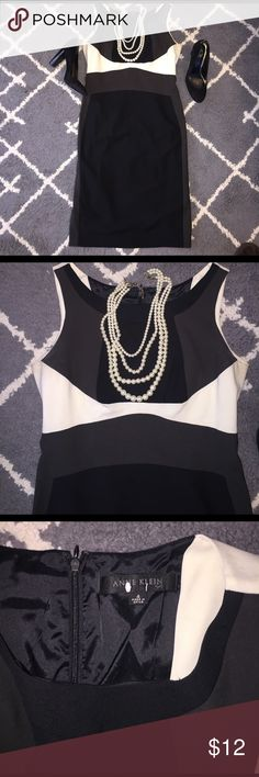 Anne Klein Black/ Grey/ White Suit Dress Anne Klein Black/ Grey/ White Suit Dress. Great dress for a power meeting or night out ! Anne Klein Dresses Midi