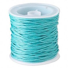 Cord, waxed cotton, turquoise blue, 1mm. Sold per 25-meter spool.