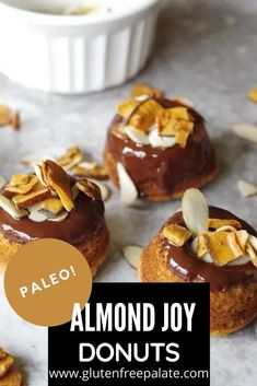 The perfect paleo donuts topped with melted chocolate, almonds, and unsweetened toasted coconut. You'll love how easy these grain-free donuts are to make. Easy Gluten Free Desserts, Gluten Free Dinner, Gluten Free Baking, Gf Recipes, Gluten Free Recipes, Paleo Donut, Donut Toppings, Melted Chocolate, Almond Joy