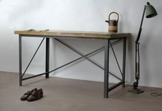 150cm Classic desk by KONK! Sometimes you need a desk to hold your anvil collection, other times you might just want to host a sumo wrestling competition on it. Either way, your floor is breaking before this desk. Handmade in Bristol by the KONK! craftsmen, we pride ourselves in the quality of both our work and in the materials we use. Made with: French oak. Industrial mild steel. Stainless steel bolts and fixings. Elbow grease and whole lotta love. Dimensions: L:1500mm x W:800mm x H:750mm…