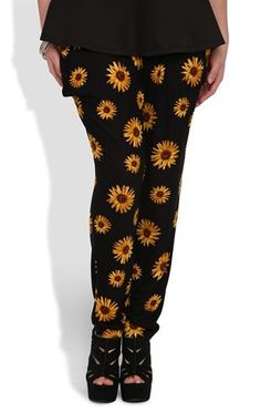 Deb Shops Plus Size Knit #Jogger #Harem #Pant with Daisy Print $20.00