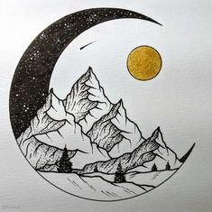Half Moon Drawing Sketch - Half Moon Landscape Art Drawings Black And White Illustration Crescent Moon Sketch At Paintingvalley Com Explore Collection Of Mandala Half Moon Half . Cool Art Drawings, Pencil Art Drawings, Doodle Drawings, Art Drawings Sketches, Doodle Art, Tattoo Sketches, Sun And Moon Drawings, Moon Sketches, Winter Drawings