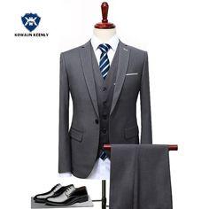2018 Formal Men Gray Business Suit Black Slim Fit  Costume Homme 3 Pieces Blue Wedding Suits for Men Black Prom Dress  Tuxedo #Affiliate #menssuitsbusiness #menssuitswedding
