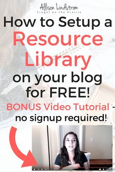 Want to increase your email list by offering something your readers can't resist? Offer them an entire resource library of exclusive content, like worksheets, etc! You can set one up for FREE by following my step-by-step video tutorial!