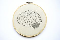 Anatomical Brain Embroidery Hoop Art - Needlepoint Brain - Embroidered Brain - Medical Decor - Medical Gifts - Science Gifts - Organs