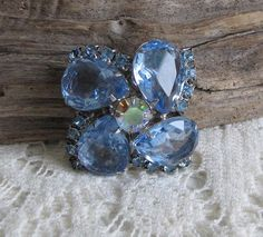 Blue Stones and Rhinestones Floral Brooch Silver Toned Watermelon Rhinestone Center Vintage Jewelry and Accessories #vintagejewelry