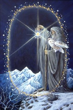 The Hermit - The Art of Cathy McClelland Find out what The Hermit means for you: www.tarotbyemail.com Fantasy World, Fantasy Art, The Hermit Tarot, Star Tarot, Major Arcana, Oracle Cards, Tarot Decks, Archetypes, Mythical Creatures