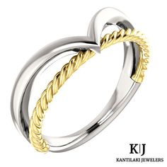 14K Solid White & Yellow Gold Negative Space Rope Ring