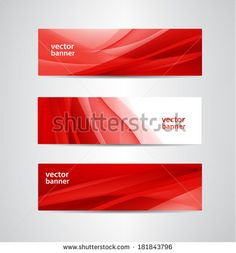 set of vector abstract wavy red banners - stock vector