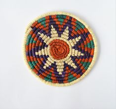 Nubian palm wicker  trivet (133) Handmade Home, Handicraft, Wicker, Hand Weaving, Palm, Inspiration, Color, Fashion, Craft