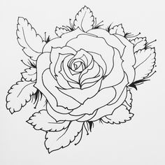 Black and white flower line work tattoo design. Rose