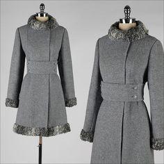 vintage 1960s coat . heather gray wool . by millstreetvintage