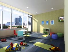 Organic and modern, this new development in Long Island City was  designed to provide a calm refuge from the bustle of the Queensboro Plaza area. Multiple recreation areas provide destinations for tenants to mingle and relax. By In-Site Interior Design. See more of our children's playroom interior design portfolio at www.In-SiteID.com