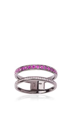 Black Rhodium And Ruby Ring by Nikos Koulis for Preorder on Moda Operandi
