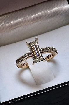 30 Eye-Catching Emerald Cut Engagement Rings ❤️ emerald cut engagement rings pave band rose gold solitaire unique modern ❤️ See more: http://www.weddingforward.com/emerald-cut-engagement-rings/ #weddingforward #wedding #bride #engagementrings