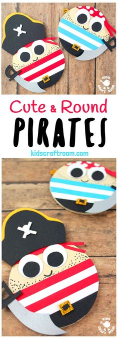 CUTE ROUND PIRATE CRAFT - Shiver me timbers this pirate craft idea is easy to make and looks fantastic. Make a pirate captain or members of the crew. A fantastic Summer kids craft #pirate #pirates #kidscrafts #piratecrafts #Summercrafts #oceancrafts #kidsactivities #kidscraftroom